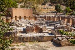 Odeon fördärvar, Gortyn den arkeologiska platsen, ön av Kreta, Grekland, Royaltyfri Foto