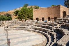 Odeon fördärvar, Gortyn den arkeologiska platsen, ön av Kreta, Grekland, Arkivbilder