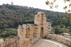 Odeon of Herodes Atticus of the Acropolis of Athens, Greece. Odeon of Herodes Atticus of the Acropolis of Athens in Greece Royalty Free Stock Photo