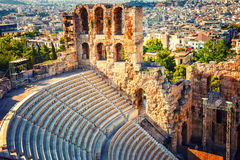 Odeon of Herodes Atticus in Acropolis of Athens Stock Images