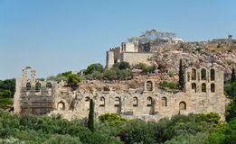 Odeon of Herodes Atticus and Acropolis of Athens in Greece Stock Image