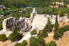 Odeon of Herodes Atticus in Acropolis of Athens. Greece Royalty Free Stock Images