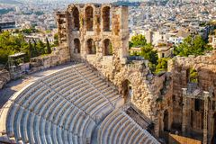Odeon of Herodes Atticus in Acropolis of Athens. Greece Royalty Free Stock Image