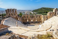Odeon of Herodes Atticus at Acropolis in Athens. Panoramic aerial view of the Odeon of Herodes Atticus at Acropolis of Athens, Greece. It is one of the main stock photo