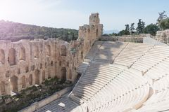 Odeon of Herodes Atticus on Acropolis hill in Athens. royalty free stock image
