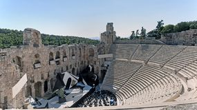 Odeon of Herodes Atticus in Athens, Greece. Preparing to a concert at the Odeon of Herodes Atticus in Athens, Greece Stock Images