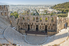 Odeon of Herodes Atticus in Athens. The Odeon of Herodes Atticus, a stone theatre structure in the Acropolis of Athens in Athens, Greece Stock Photos