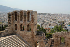 The Odeon of Herodes Atticus, Athens. The Odeon of Herodes Atticus is a stone theatre structure located on the southwest slope of the Acropolis of Athens Royalty Free Stock Photography