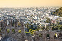 Odeon of Herodes Atticus in Greece. The Odeon of Herodes Atticus, a stone theatre structure in the Acropolis of Athens in Athens, Greece Stock Photo