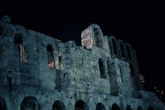 Odeon of Herodes Atticus by night Stock Photos