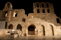 Odeon of Herodes Atticus at night. Greece, Athens. Royalty Free Stock Photo