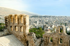 Odeon of Herodes Atticus. A ruin of Odeon of Herodes Atticus or Herodeon in Acropolis, Athens, Greece Stock Photos