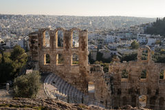 The Odeon of Herodes Atticus. Stone theater structure on the southwest slope of the Acropolis of Athens. Completed in 161 AD and renovated in 1950 stock images