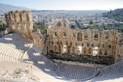 The Odeon of Herodes Atticus. Stone theater structure on the southwest slope of the Acropolis of Athens. Completed in 161 AD and renovated in 1950 stock image