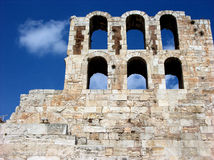 Odeon of Herodes Atticus stone theatre structure in Acropolis,Athens Royalty Free Stock Images