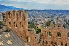 Odeon of Herodes Atticus theater Stock Photos