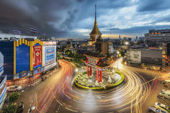 Odeon Roundabout at Chinatown, Bangkok with a storm cloud approaching Stock Image