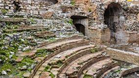 Odeon - taormina,废墟古希腊剧院  免版税库存照片
