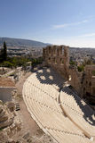 The Odeon Theater in Athens, Greece. Dramatic view above the ruins of the Odeon Theater in Athens, Greece Royalty Free Stock Photos