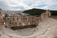 Odeon (Theatre) of Herodes Atticus. The Odeon of Herodes Atticus is a stone theatre structure located on the south slope of the Acropolis of Athens. It was built Royalty Free Stock Photos