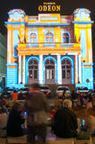 Odeon theatre. On the lights night 2015 in bucharest stock image