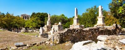 Odeon van Agrippa-standbeelden in Oud Agora, Athene, Griekenland stock afbeeldingen