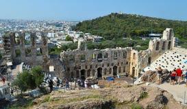 Odeon van Herodes Atticus in Akropolis in Athene, Griekenland op 16 Juni, 2017 Stock Afbeelding