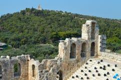 Odeon van Herodes Atticus in Akropolis in Athene, Griekenland op 16 Juni, 2017 Stock Foto