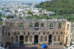 Odeon von Herodes-Atticus in der Akropolise in Athen, Griechenland am 16. Juni 2017 Lizenzfreie Stockfotos