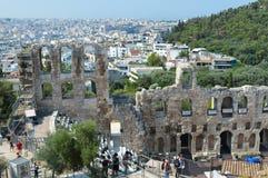 Odeon von Herodes-Atticus in der Akropolise in Athen, Griechenland am 16. Juni 2017 Lizenzfreie Stockfotografie