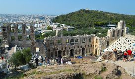 Odeon von Herodes-Atticus in der Akropolise in Athen, Griechenland am 16. Juni 2017 Stockbild