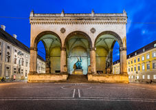 Odeonplatz and Feldherrnhalle in the Evening Royalty Free Stock Photos