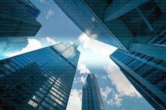 01 oder binäre Daten bezüglich der Wolkenkratzer, Bildschirm, futuristisch Stockfoto