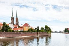 Oder River and Ostrow Tumski island in Wroclaw Royalty Free Stock Photos
