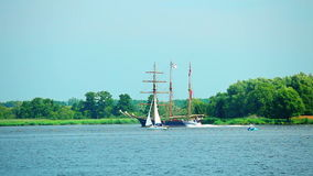 Oder River, Poland. Sailing ship at sunny summer day, The Tall Ships Races 2013, West Pomeranian, Oder River, Poland, Europe stock footage