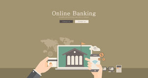 Odern and classic design online banking concept illustration. Modern and classic design online banking concept illustration Stock Photography