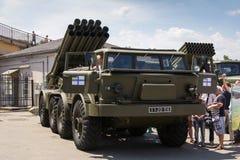 Odesa,乌克兰- 2016年7月03日:军事vehickles ` Uragan `和`毕业`的陈列在庆祝海军期间的强迫天 免版税库存照片