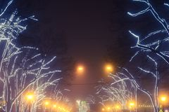 Odesa, de Oekraïne - Januari, 7, 2018: Kerstmis en Nieuwjaardecor stock foto