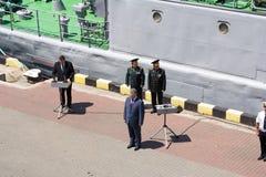 Odesa Ukraina, Lipiec, - 03, 2016: Ukraiński prezydent Petro Poroshenko przy molem port Marynarka wojenna dnia świętowanie Obrazy Stock
