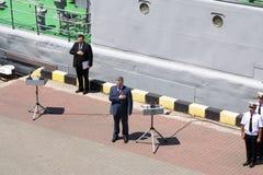 Odesa Ukraina, Lipiec, - 03, 2016: Ukraiński prezydent Petro Poroshenko przy molem port Marynarka wojenna dnia świętowanie Obraz Stock