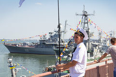 Odesa, Ukraine - July 03, 2016: Ukrainian marine officer in the Port, guarding during celebration navy forces day Stock Photos