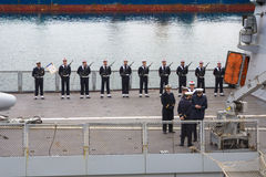 Odesa, UKRAINE - MARCH, 26, 2015: Sailors from the French warship La Fayette Royalty Free Stock Photography