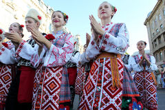 Odessa August 24: Men in traditional costumes at the festival na Royalty Free Stock Photography