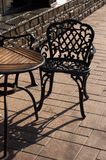 Odessa caffe. Fragment of caffe with the steel chair in the city of Odessa stock photo