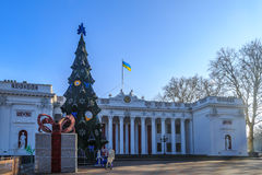Odessa city hall with christmas tree, decorations and ukrainian Stock Photo
