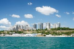 Odessa city seashore with new urban districts, Ukraine.View from. The water royalty free stock image