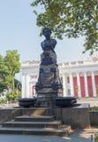 Odessa, de Oekraïne - Augustus 28, 2015: Monument aan de onbekende dichter Alexander Pushkin stock afbeeldingen