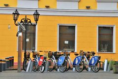 Odessa, Ukraine. City park for charging electric bicycles, with the possibility of renting them. royalty free stock photography