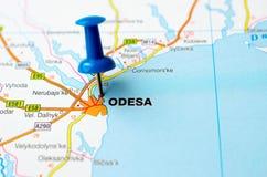 Odessa en mapa fotografía de archivo libre de regalías