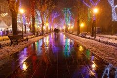 Odessa in the fog. Christmas. Stock Photos
